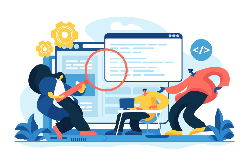 Software and application development. Web design. Program optimization. Front end developer, website interface, coding and programming concept. Vector isolated concept creative illustration